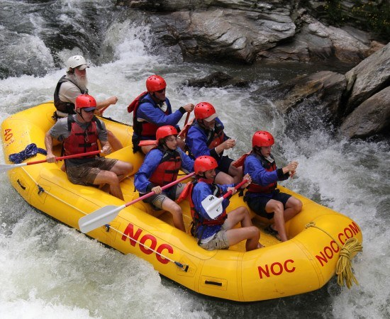 Students and chaperones tackle the rapids