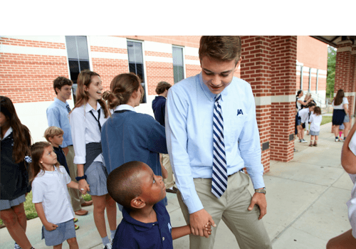 Intentional interaction and mentoring between younger and older students abound. For example, in the Alpha and Omega program, seniors and kindergarten students share time and and seniors pass along wisdom they've learned at JA.